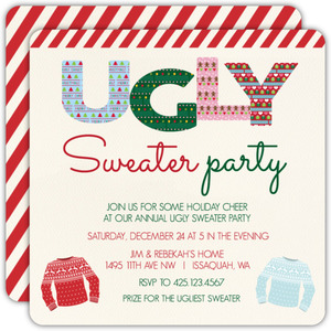 Red Stripe Pattern Ugly Sweater Party Invitation