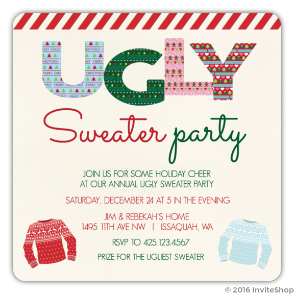 Red stripe pattern ugly sweater party invitation holiday invitations red stripe pattern ugly sweater party invitation stopboris Images