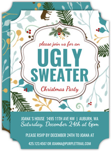 Turquoise Woodland Ugly Sweater Party Invitation