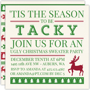Tacky Season Ugly Sweater Party Invitation