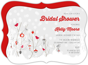 Winter Birds And Ornaments Bridal Shower Invitation