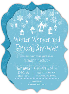 Lanterns In Winter Wonderland Bridal Shower Invitation