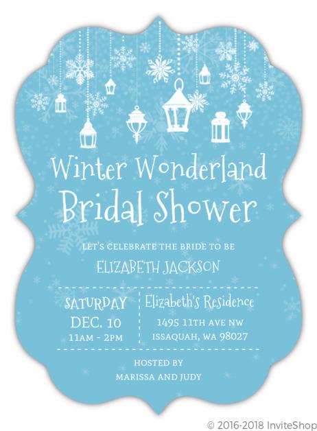 8b6912ca2c4 Lanterns In Winter Wonderland Bridal Shower Invitation