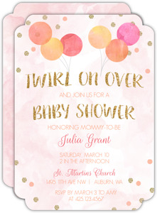Festive Watercolor Balloons Baby Shower Invitation