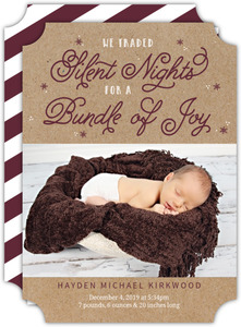 Silent Nights Sparkle Holiday Birth Announcement