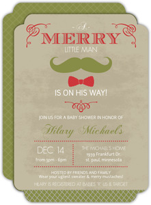 Vintage Little Man Festive Mustache Bow Tie Baby Shower Invitation