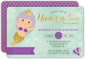 Purple Princess Mermaid Birthday Invitation