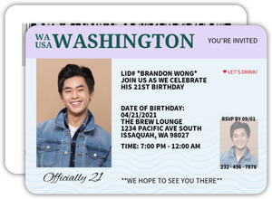 Official ID 21st Birthday Invitation