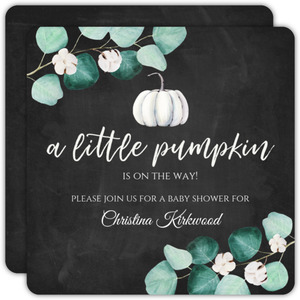 White Little Pumpkin Baby Shower Invitation