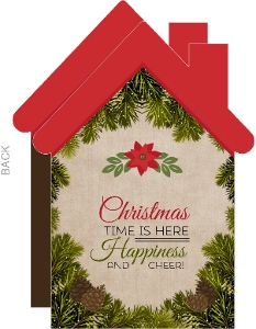 Cute Pine and Poinsettia House Business Christmas Card