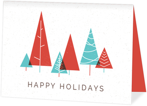 Modern Blue and Red Trees Business Holiday Card