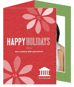 Red Retro Poinsettia Lawyer Business Holiday Card