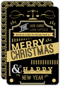 Beautiful Art Deco Typographic Business Holiday Card
