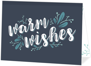Blue Warm Wishes Business Holiday Card