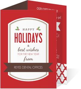 Red and Brown Dental Spirit Business Holiday Card