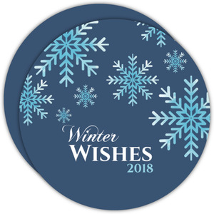 Falling Blue Snowflakes Winter Wishes Holiday Business Card