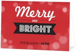 Merry and Bright Typography Business Holiday Card
