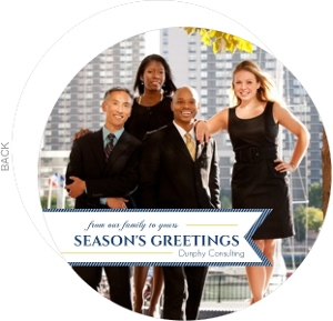 White and Navy Banner Business Holiday Card