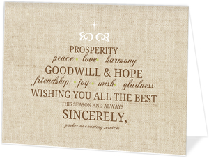 Quote Wishes Burlap Business Holiday Card