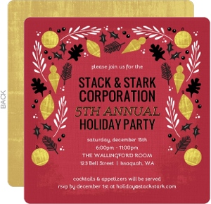 Faux Gold, Black and Red Festive Border Business Holiday Invitation