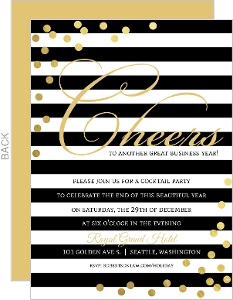 Black and White Stripes Faux Gold Confetti Business Holiday Invitation