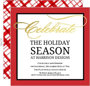 Red and White Gingham Celebrate Business Holiday Party Invitation