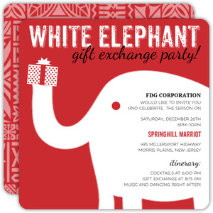 Cute Red and White Elephant Holiday Party Invitation