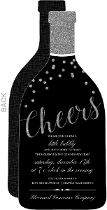 Faux Silver Glitter Cheers Bottle Business Holiday Invitation