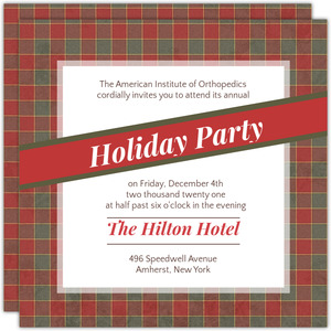 Cute Red and Green Plaid Border Business Holiday Invitation