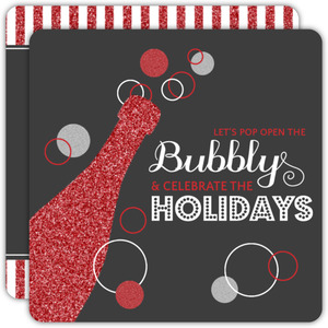 Red Bubbly Champagne Business Holiday Invitation