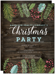 Rustic Holiday Leaves Business Holiday Invitation