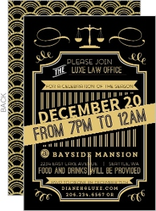 Gold Typography Deco Business Holiday Invitation