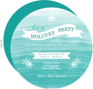 Watercolor Snowflakes Business Holiday Invitation
