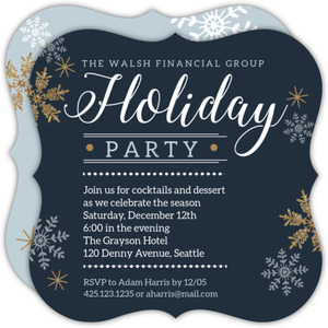 Faux Glitter Snowflakes Business Holiday Party Invitation