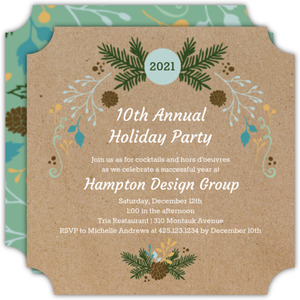 Rustic Fir Business Holiday Invitation