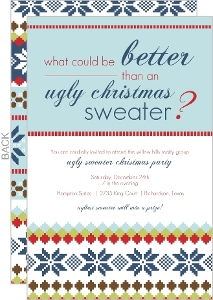 Ugly Blue Sweater Business Holiday Invitation