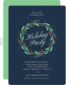 Festive Mistletoe Wreath Business Holiday Invitation