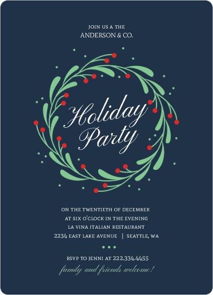 Festive Mistletoe Wreath Business Holiday Invitation Business
