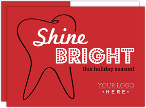 Red and Black Tooth Outline Dental Christmas Card