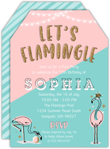 Flamingle Summer Birthday Party Invitation