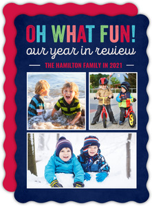 Colorful Fun Year in Review Holiday Photo Card