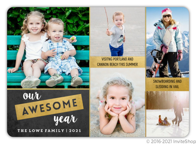Gold Chalkboard Year In Review Holiday Photo Card Christmas Cards