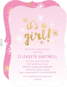 Pink Ombre Snowflakes Baby Shower Invitation