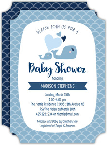 Whale Love Baby Shower Invitation