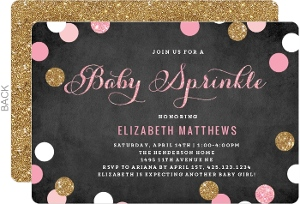 Shimmer Pink and Gold Baby Sprinkle Invitation