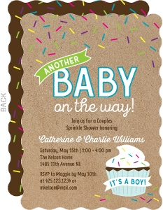 Blue Cupcake Sprinkle Baby Shower Invitation