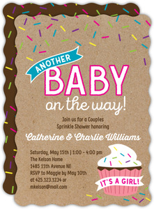Pink Cupcake Sprinkle Baby Shower Invitation