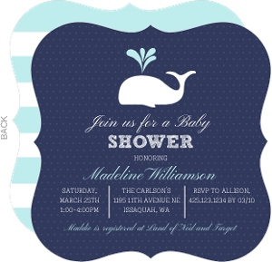 Blue and White Whale Baby Shower Invitation