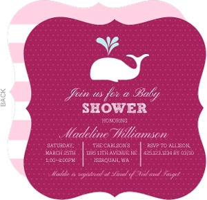 Pink and White Whale Baby Shower Invitation