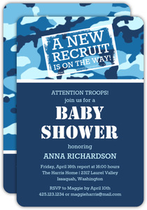 Camouflage Blue Baby Shower Invitation
